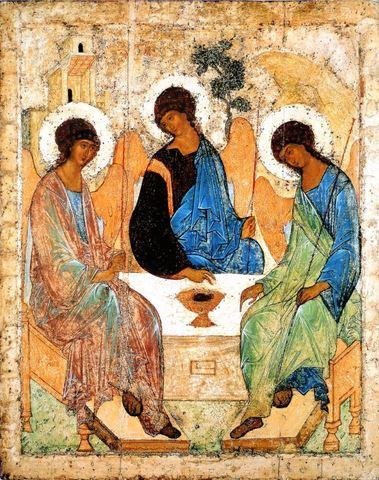 Икона святая Троица Андрея Рублева на дереве на левкасе мастерская Иконный Дом