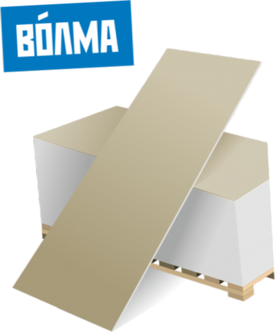 ГКЛ Волма 12.5 мм, Гипсокартонный лист обычный 1200х2500х12.5 мм