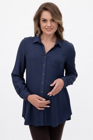 Рубашка для беременных 10872 темно-синий