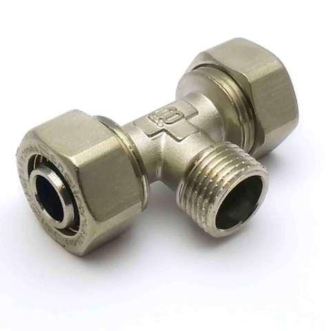 Тройник обжимной для металлопластиковых труб  20*1/2*20 наружная резьба SD Plus