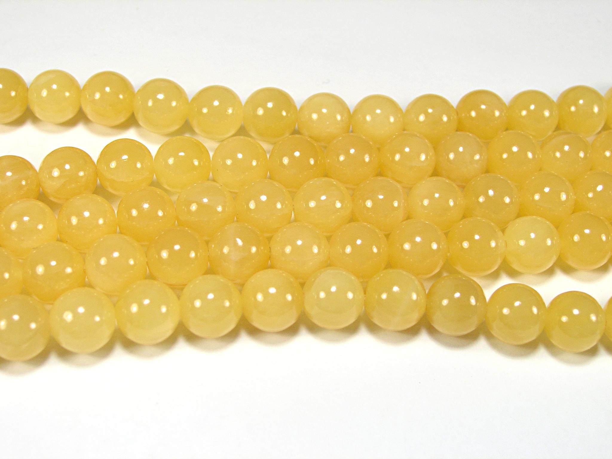 Нить бусин из жадеита медового, шар гладкий 10мм