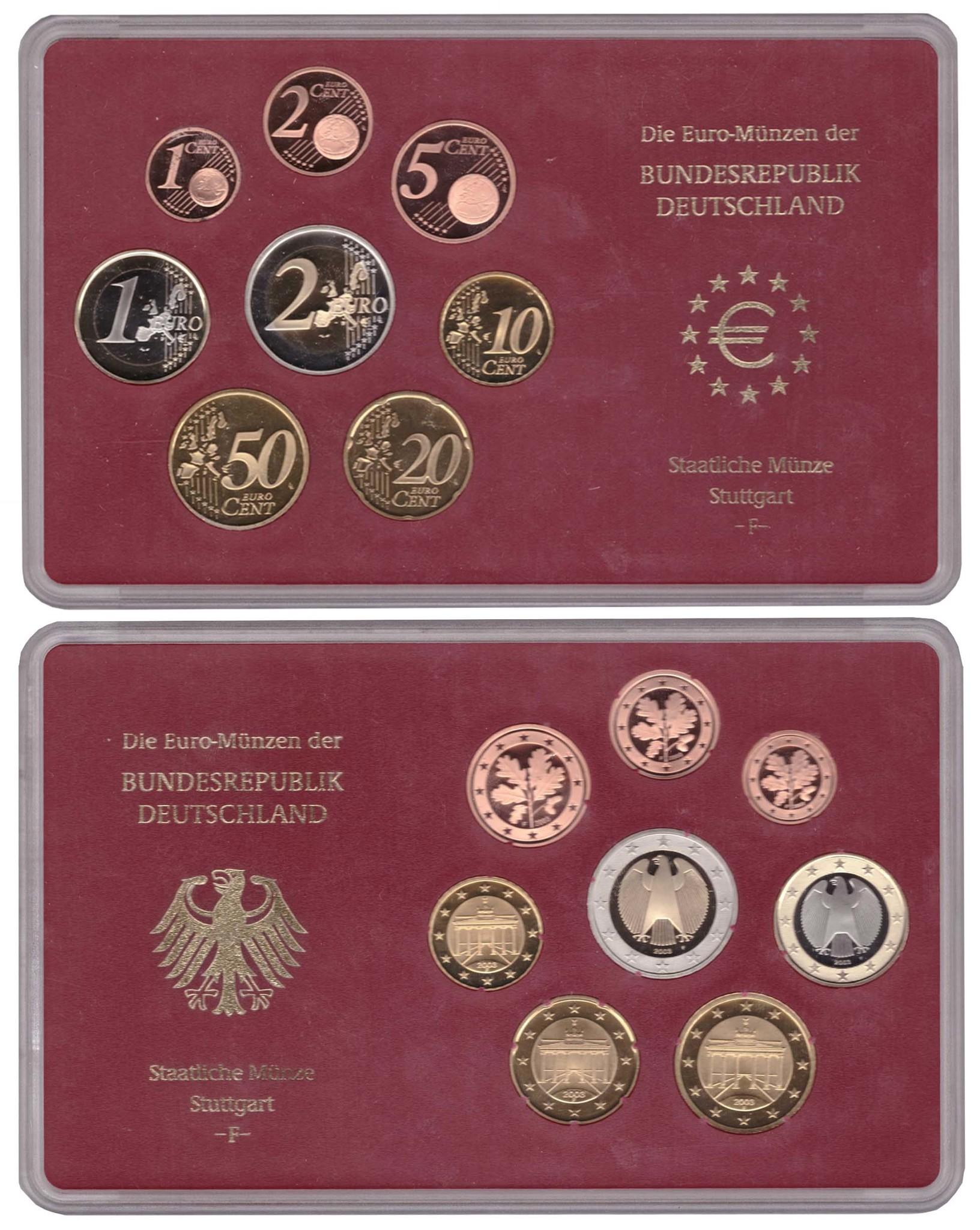 Набор монет Германии. 2003 год. (F). В оригинальной упаковке. Proof