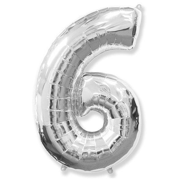 Фольгированная цифра 6, серебро