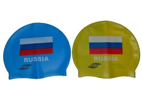 Шапочка для плавания SPRINTER. Классический дизайн с изображением флага России.
