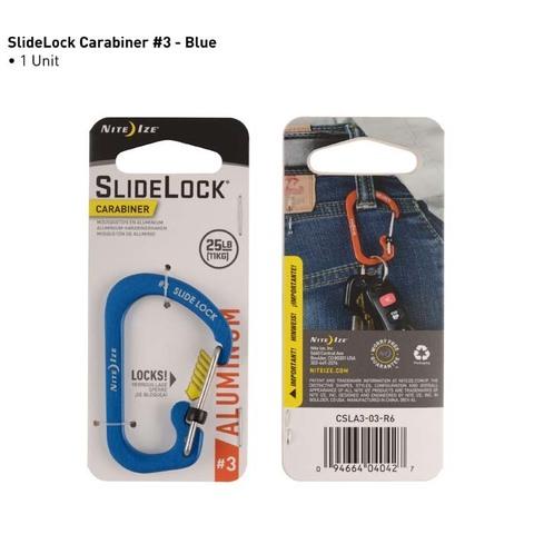 Карабин с блокировкой Nite Ize SlideLock Carabiner Aluminum, размер 3 синий