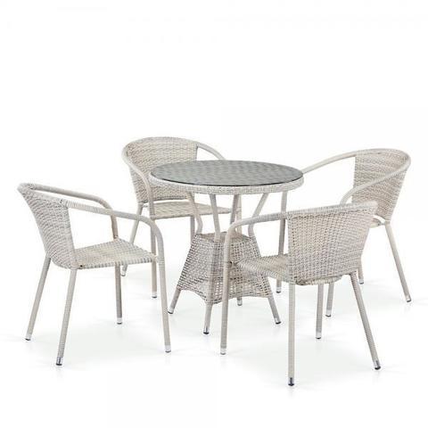 Комплект плетеной мебели из искусственного ротанга T705ANT/Y137C-W85 4Pcs Latte