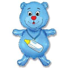 Фигурный шарик из фольги Медвежонок с бутылочкой голубой