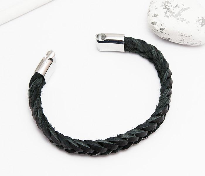 BM451-1 Плетеный браслет из натуральной кожи черного цвета (19 см) фото 02