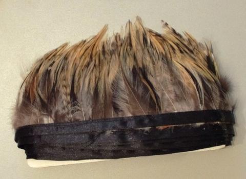 Тесьма  из перьев петуха h- 6-8 см., 9 м. натуральный серый