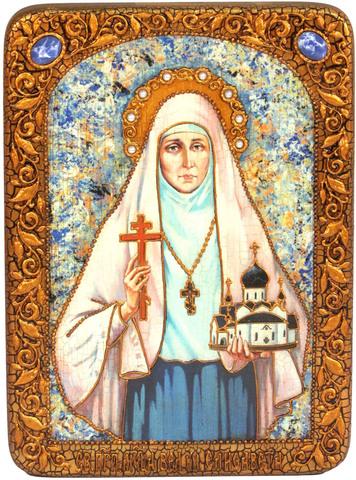 Инкрустированная икона Святая преподобномученица великая княгиня Елисавета 29х21см на натуральном дереве, в подарочной коробке