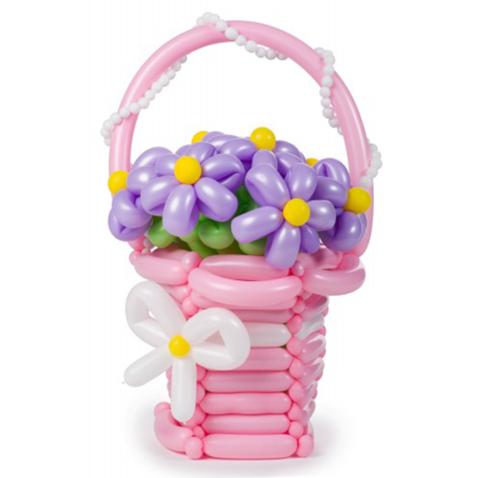 Букет цветов  Сиреневые ромашки в корзине
