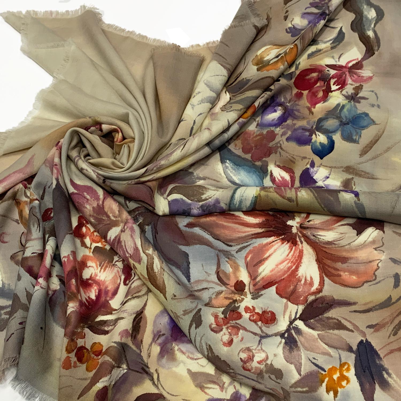 Кашемировый платок батик Голландские цветы беж С-74-ш