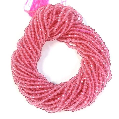 Бусины шпинель (имитация) граненая 2 мм цвет розовый цена за 185 бусин (~37 см)