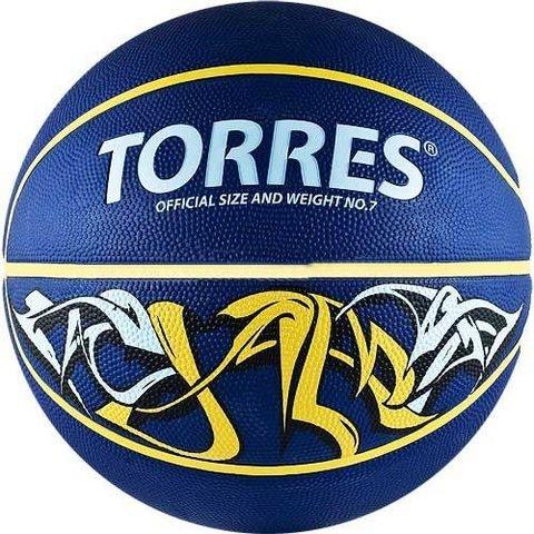 Мяч баск. TORRES Jam р. 3, резина, сине-желт-голубой B00043
