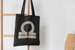Сумка-шоппер с принтом Знаки Зодиака, Весы (Гороскоп, horoscope) черная 004