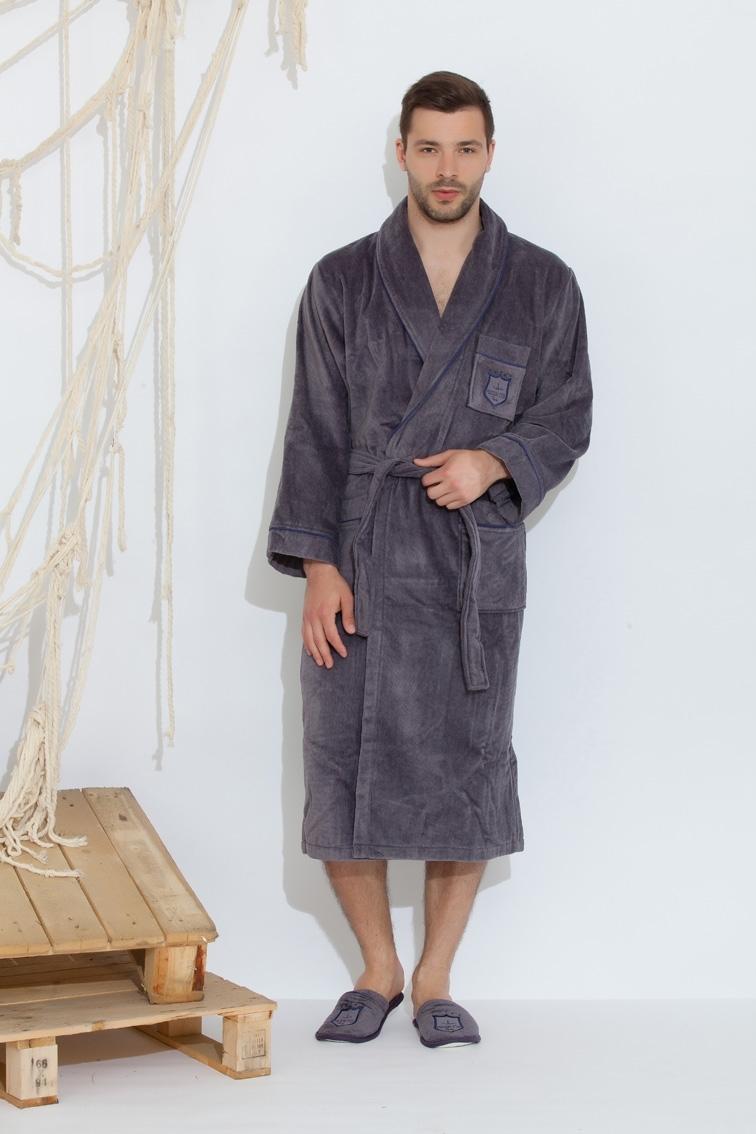 Махровые мужские халаты BOSWELL-БОСВЭЛЛ мужской  халат с тапочками  Maison Dor Турция 17514b.jpg