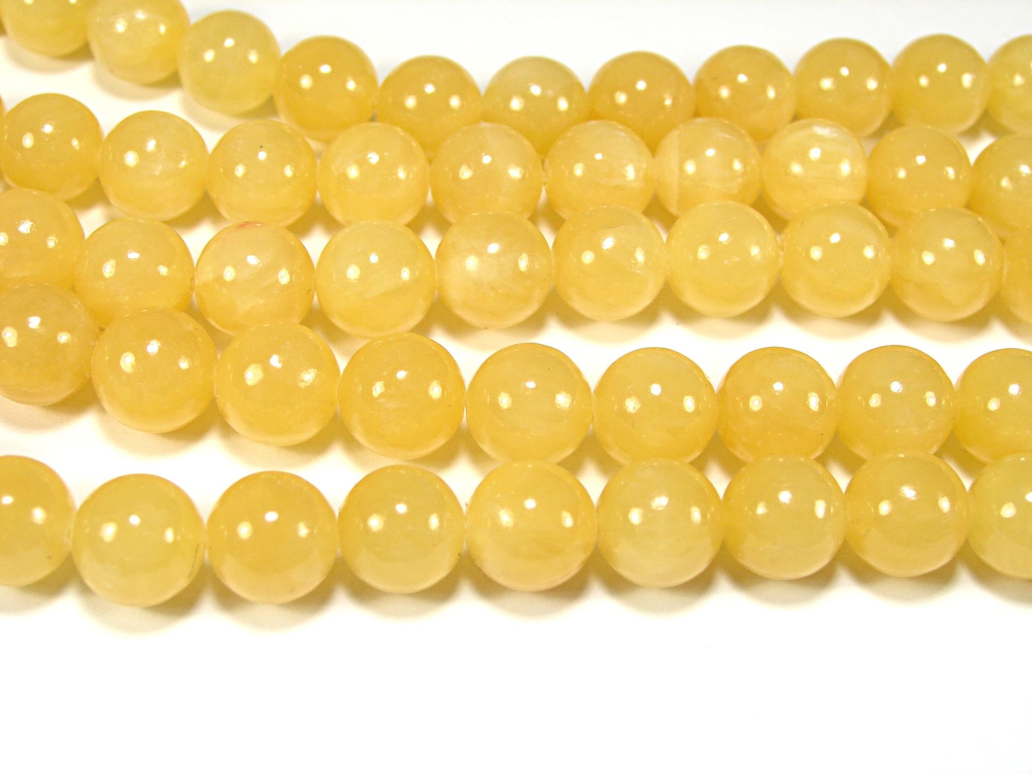 Нить бусин из жадеита медового, шар гладкий 12мм