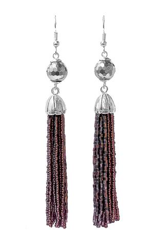 Серьги бисерные фиолетовые длинные из 18 нитей