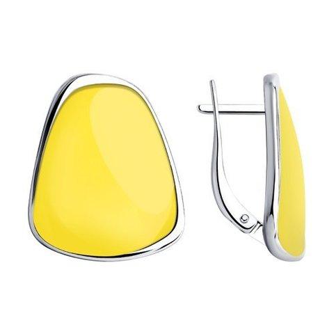 94023987 - Серьги из серебра с желтой эмалью