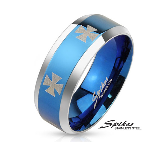 R-M3659 Мужское кольцо синего цвета с кельтскими крестами