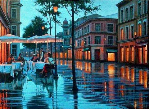 Картина раскраска по номерам 50x65 Уличное кафе