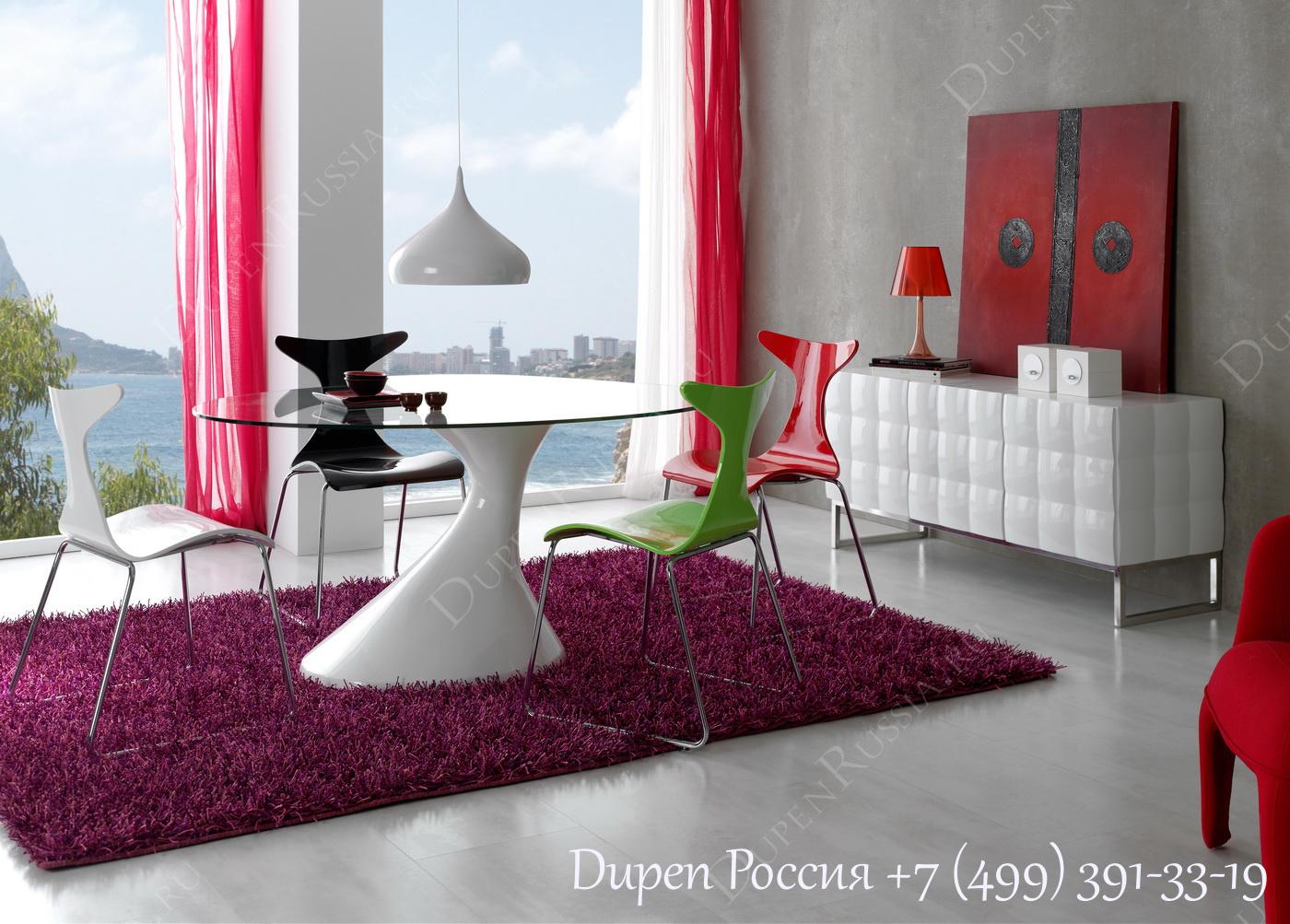 Буфет DUPEN W-750 Белый, Стол DUPEN DT-05, Стулья DUPEN CH-1002