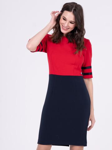 Фото красное платье-футляр приталенного силуэта для офиса - Платье З206-199 (1)
