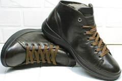 Утепленные высокие кроссовки кеды из натуральной кожи Ikoc 1770-5 B-Brown.