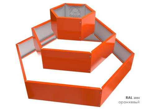 Клумба многоугольная оцинкованная Альпийская горка 3 яруса RAL 2004 Оранжевый