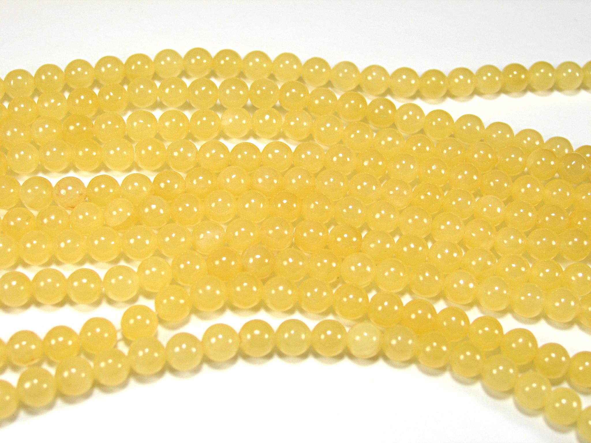 Нить бусин из жадеита медового, шар гладкий 6мм