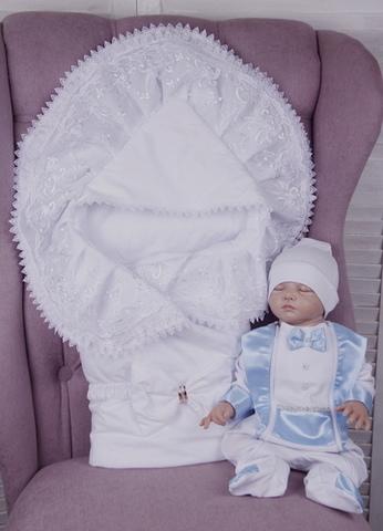 Летний комплект на выписку из роддома Волшебство + Фрак (белый+голубой)