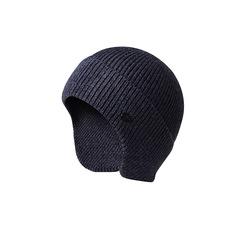 Шерстяная вязаная мужская шапка из кроличьей шерсти (Лыжная теплая шапка) синяя