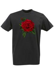 Футболка с принтом Цветы (Розы) черная 001