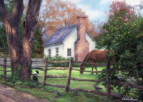 Картина раскраска по номерам 50x65 Домашние животные у дома с печью