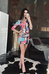 Гала. Молодіжна обтягуюча сукня міні. Абстракція принт
