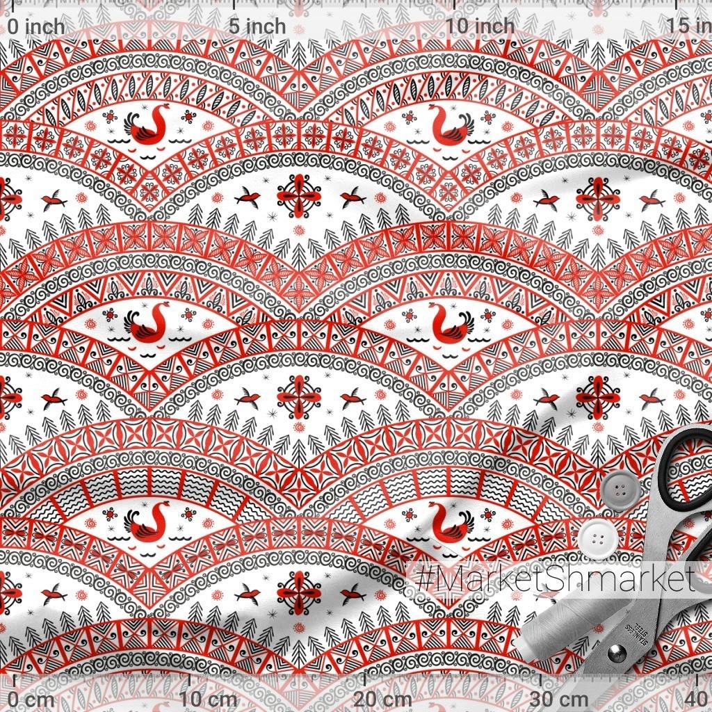 Орнамент с птицами на белом фоне. Мезенская роспись. (Дизайнер Irina Skaska)