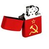 Зажигалка Zippo Серп и молот с покрытием Red Matte, латунь/сталь, красная, матовая, 36x12x56 мм