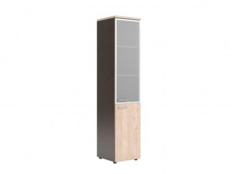 XHC 42.7(L/R) Шкаф колонка комбинированая со стеклом в ал. раме с топом (425х410х1930)
