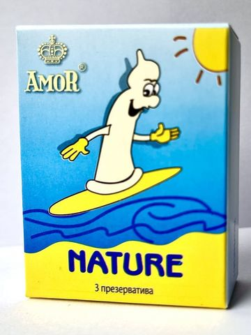 Классические презервативы AMOR Nature  Яркая линия  - 3 шт.