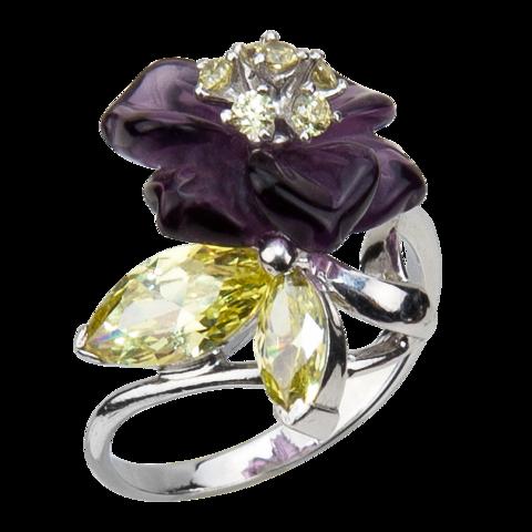 Кольцо с цветком из фиолетового кварца и фианитами