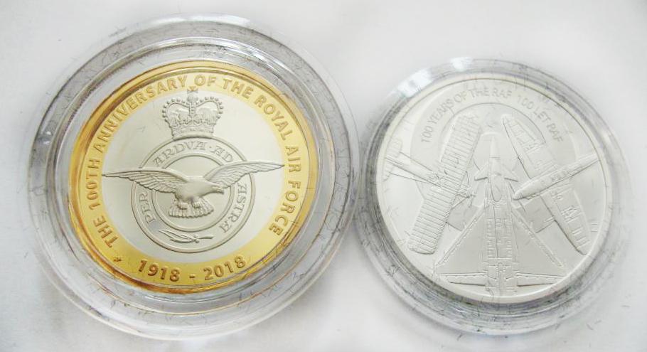 Набор из 2 монет. Великобритания 2 фунта и Ниуэ 1 доллар - Самолеты Королевские ВВС 100 лет RAF. 2018 год