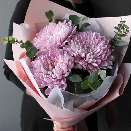 Купить букет из 3х крупных розовых хризантем в Перми