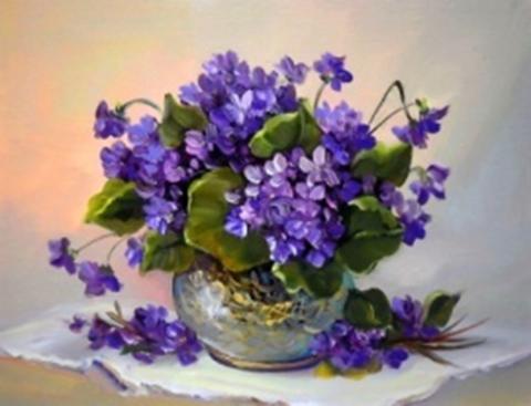 Картина раскраска по номерам 30x40 Цветы в вазе на белой салфетки  (арт. KTL2196)