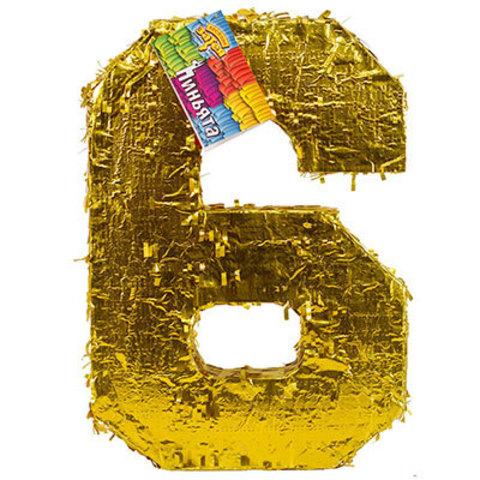 Пиньята Цифра 6 Золото