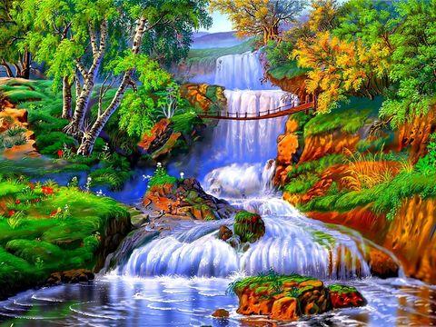Алмазная Мозаика 40x50 Яркий водопад среди зелени (арт. GA70029)