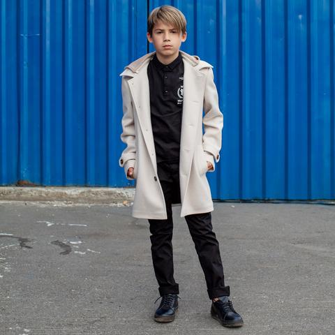 Підліткове кашемірове пальто білого кольору на хлопчика