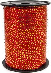 Лента (0,5см*500м) Золотой горошек, Красный, металлик, 1 шт.