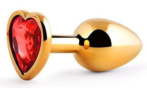 Золотистая анальная пробка с красным стразом-сердечком - 7 см.