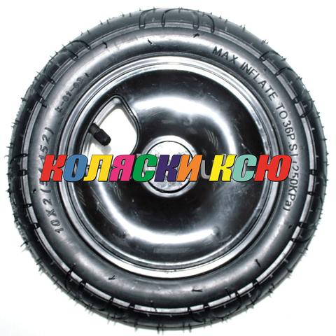 Колесо для детской коляски №027012 надув 10 дюймов без вилки 54-152 10х2 (втулка на ось 10мм)