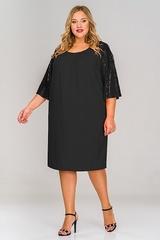 Платье креп с широким рукавом из пайеток 1517201